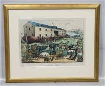 Currier & Ives colored lithograph, Noah's Ark, image