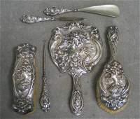 1166: Unger Brothers 6 piece sterling silver dresser se