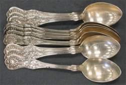 1230G: 10 sterling silver Kings pattern teaspoons by Do
