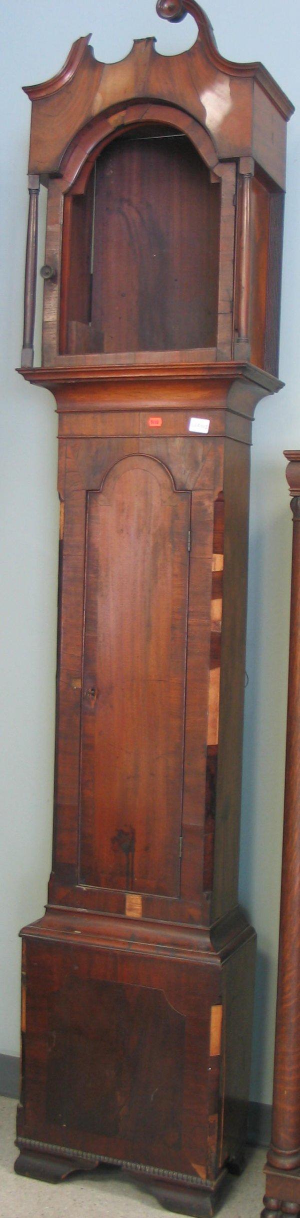 1281: American Chippendale mahogany tall case clock, la