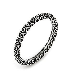 PLAIN SILVER DECORATED STACKABLE BAND RING