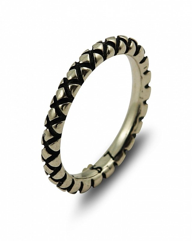 PLAIN SILVER CROSSHATCH STACKABLE BAND