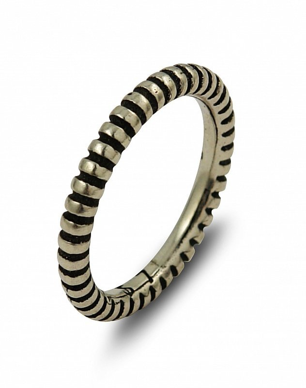 PLAIN SILVER STRIPED STACKABLE BAND