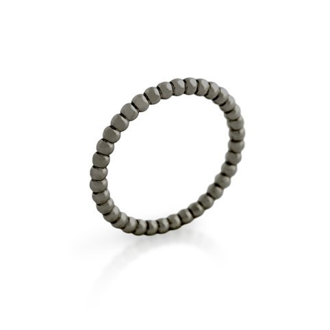 BLACK RHODIUM PLATED BEAD DESIGN STACKABLE BAND