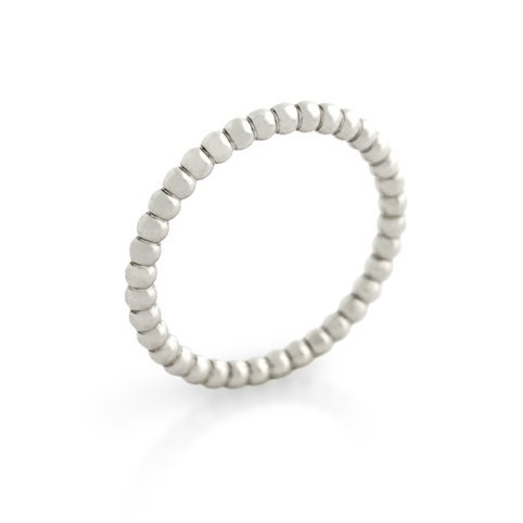RHODIUM PLATED BEAD DESIGN STACKABLE BAND