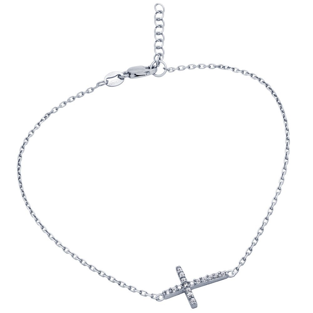 """RHODIUM PLATED CZ CROSS ANKLET 9"""" + 1"""""""
