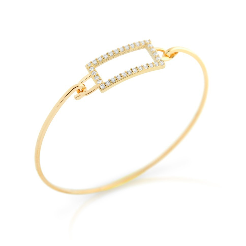 GOLD PLATED RECTANGLE CUT OUT DESIGN BANGLE WITH ALL