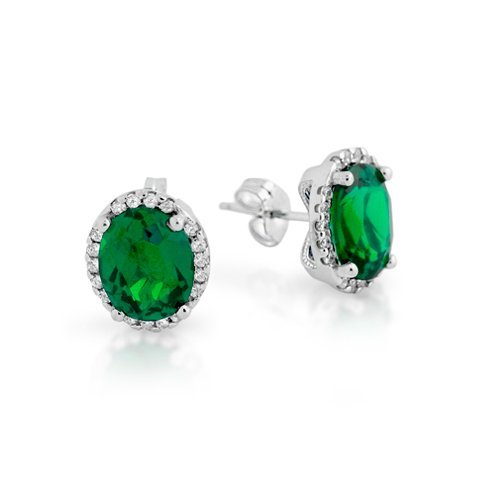 RHODIUM PLATED 8X10 GREEN OVAL CZ EARRINGS WITH ALL