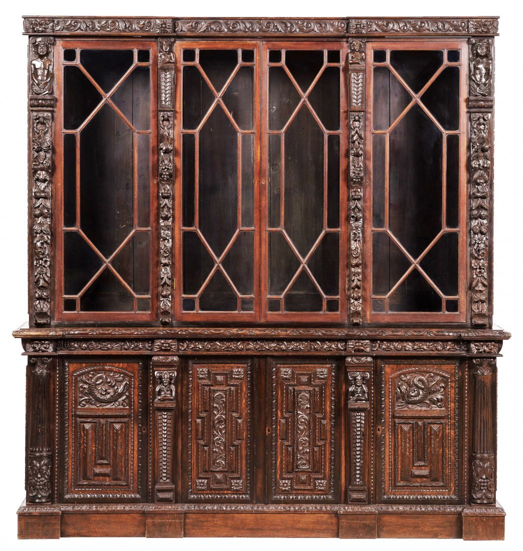 19th C Victorian Gothic Revival Oak Carved Bookcase