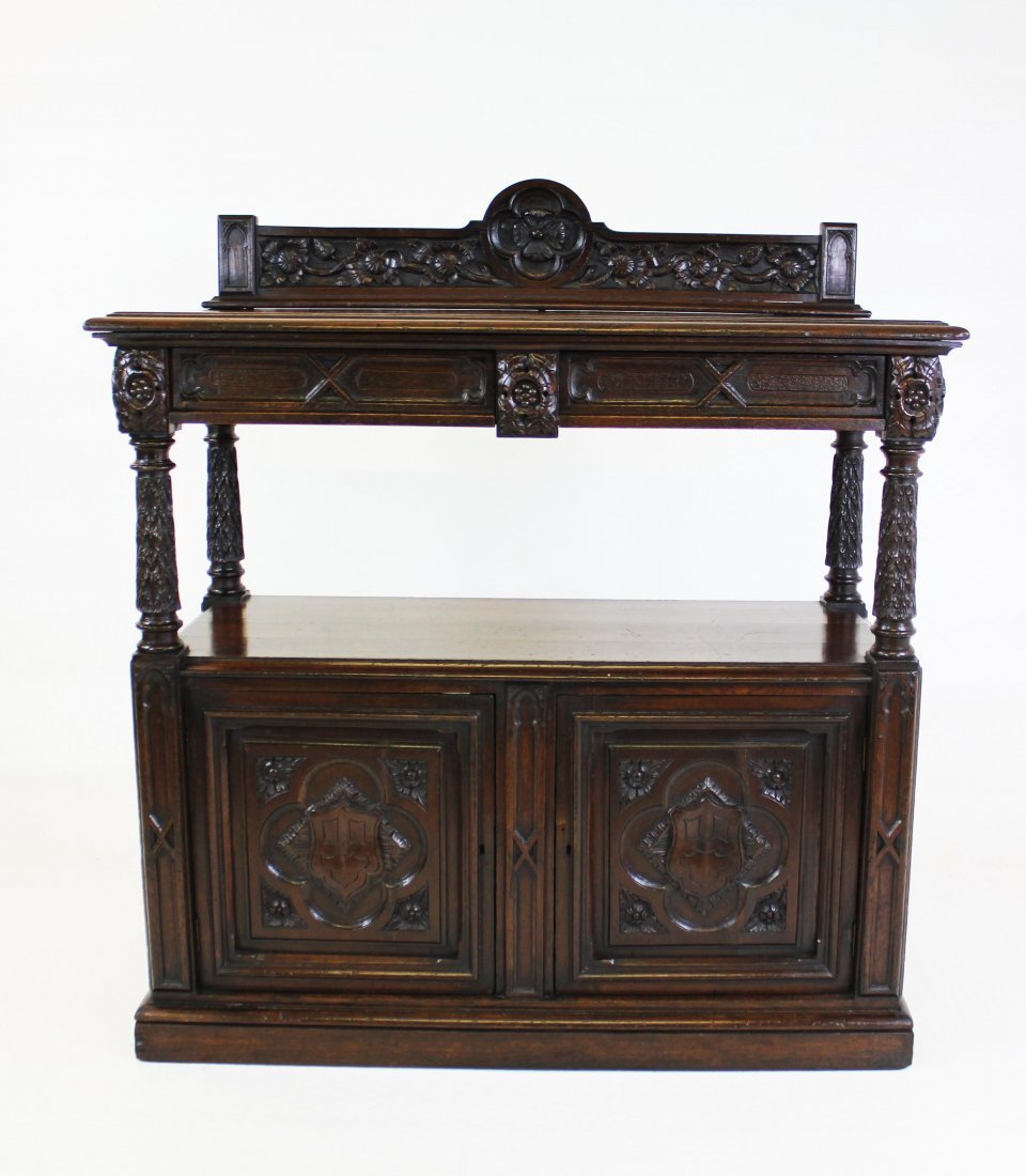 Victorian Edwards & Roberts Carved Oak Sideboard
