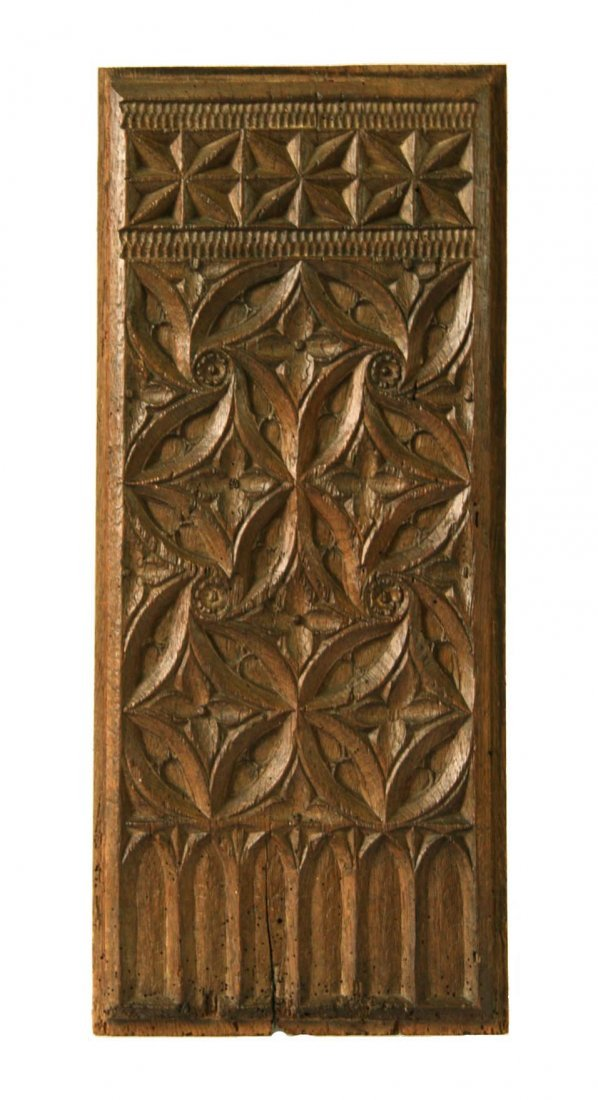 Late 15th Century Anglo-Norman Carved Oak Tracery Panel