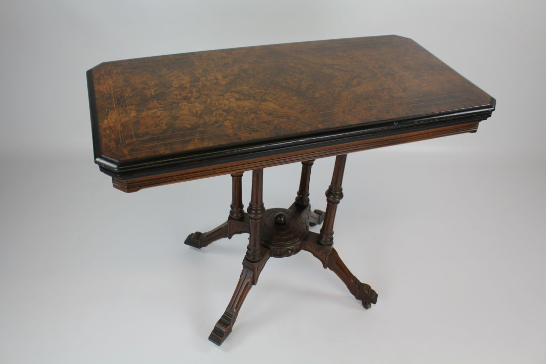 Victorian Walnut and Satinwood Card Table