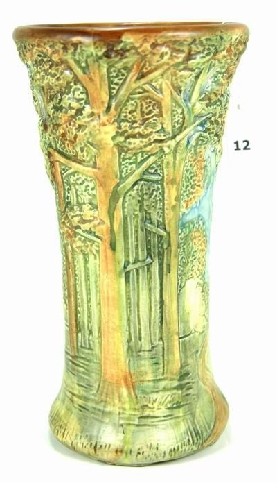 12: WELLER 10 INCH FOREST VASE GREAT MOLD