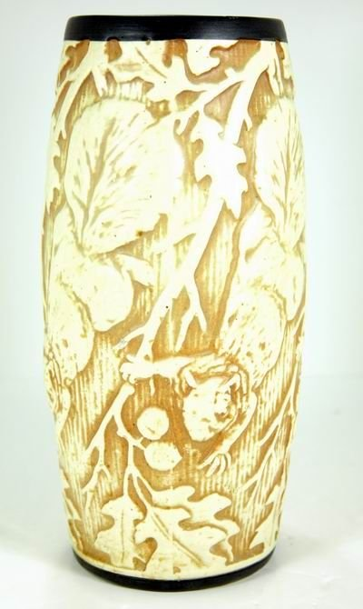 4: WELLER RARE KNIFE WOOD SQUIRREL VASE