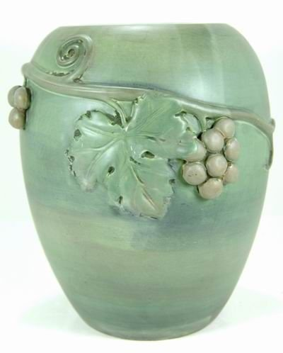 5: RARE WELLER KENOVA 12 INCH VASE  W/ APPLIED CHERRIES