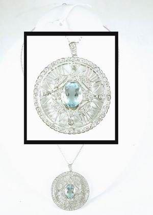432: MAGNIFICENT AQUA MARINE PLATINUM AND DIAMOND PENDA