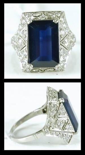 498: 9.00CT SAPPHIRE PLATINUM DIAMOND RING