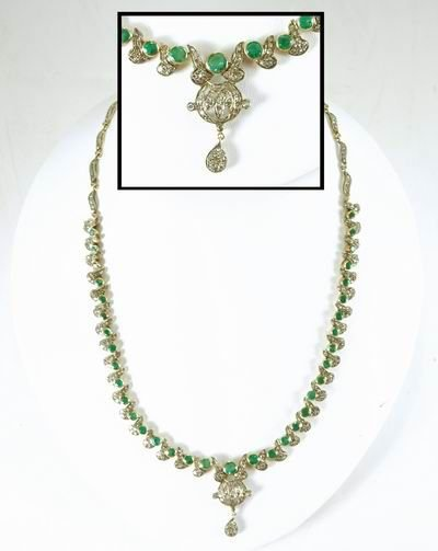 457: ONE OF A KIND VICTORIAN EMERALD AND DIAMOND NECKLA