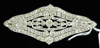 375B 900CT ART DECO DIAMOND PLATINUM PIN