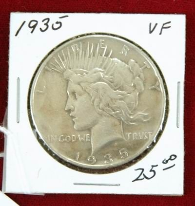 601E: 1935 PEACE SILVER DOLLAR VF
