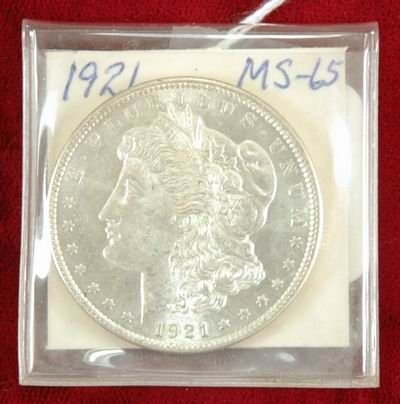 601D: 1921 MORGAN SILVER DOLLAR MS 65