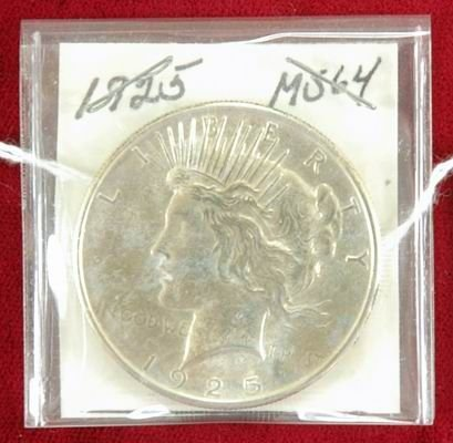 601H: 1925 PEACE SILVER DOLLAR MS64