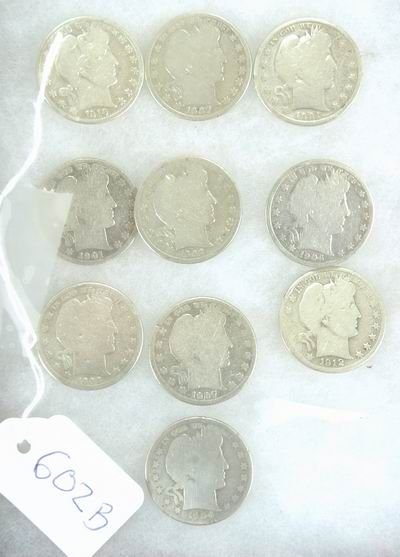 602B: LOT OF 10 EARLY BARBER SILVER HALF DOLLARS