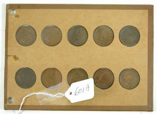 601A: LOT OF 10 LARGE CENTS 1847-1856
