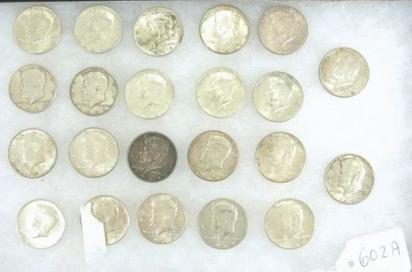 602A: LOT OF 22 KENNEDY SILVER HALF DOLLARS ALL 1964