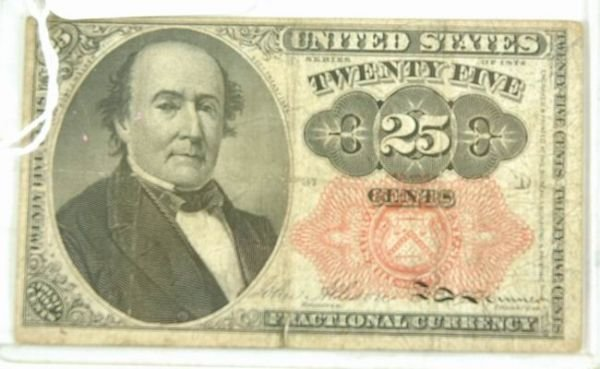 601C: 1845 US FRACTIONAL BILL 25 CENT