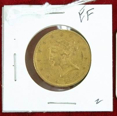 603S: RARE 1849o US GOLD EAGLE $10 COIN EF