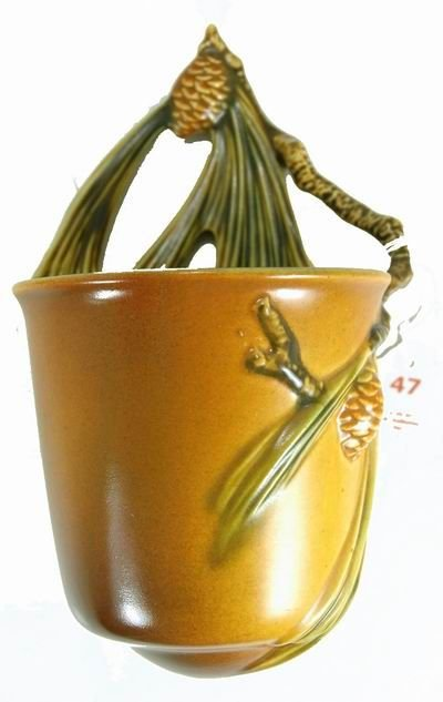 47: ROSEVILLE BROWN PINE CONE RARE WALL BUCKET