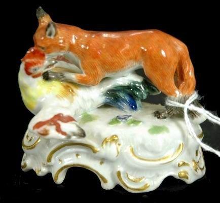 481: RARE 19TH CEN MEISSEN FOX AND HEN FIGURINE
