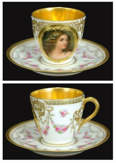207: DRESDEN PORTRAIT CUP AND SAUCER