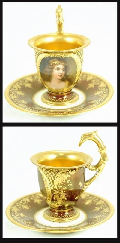 208: ROYAL VIENNA SIGNED WAGNER CUP AND SAUCER