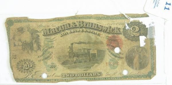 11: 2 DOLLAR LARGE BILL MACON AND BRUNSWICK RAILROAD