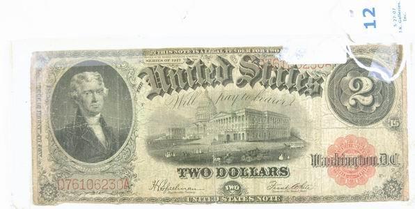 12: 1917 LARGE 2 DOLLAR US BILL