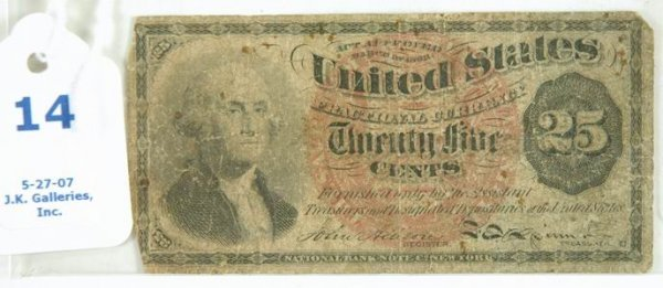 14: UNITED STATES FRACTIONAL 25 CENT PAPER MONEY