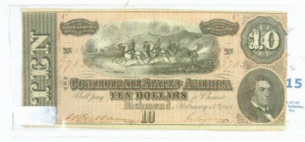 15: 10 DOLLAR CONFERERATE BILL 1864