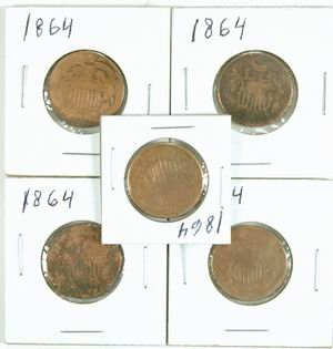 5: COLLECTION OF 4 US 2 CENT PIECES ALL 1864