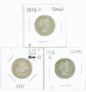22: COLLECTION OF 3 BARBER QUARTERS ALL1913 GOOD