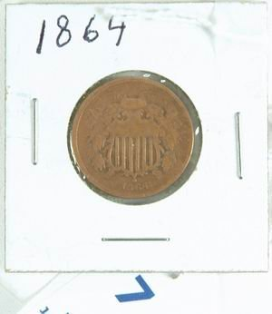 7: US 1864 2 CENT PIECE VERY GOOD CONDITION
