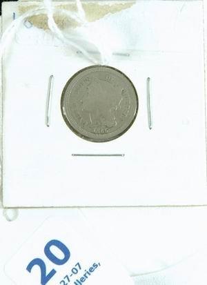 20: 1865 US 3 CENT NICKEL FINE CONDITION