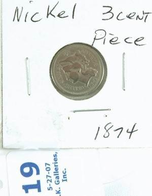 19: 1874 US 3 CENT NICKEL EXTRA FINE