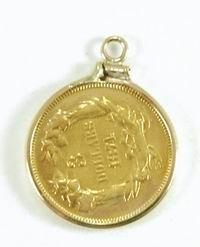 1: RARE US 3 DOLLAR GOLD 1874 COIN IN A 14KT GOLD BEZEL