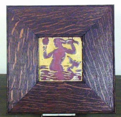 401: EXTREMELY RARE GRUEBY ARTS AND CRAFTS TILE FRAMED