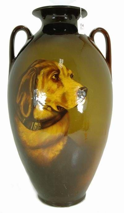 454: ROSEVILLE ROZANE 21 INCH VASE WITH DOG PORTRAIT
