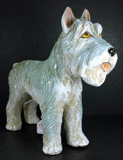 455: FRENCH CERAMIC TERRIER DOG FIGURE GLASS EYES