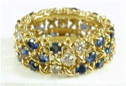 908 SIGNED TIFFANY SAPPHIRE AND DIAMOND ETERNITY BAND