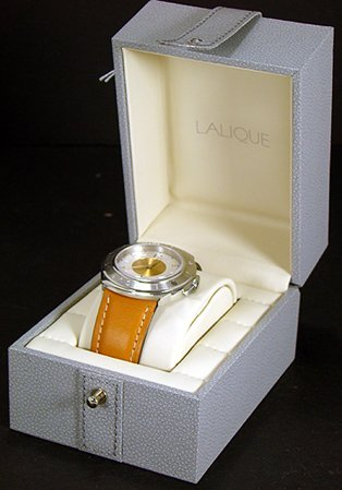 307: LALIQUE WATCH MASCOT ALL ORIGINAL BOX AND PAPERS